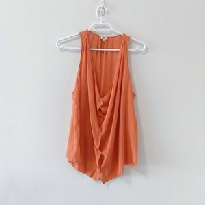 Wilfred Silk Button Down Tank Top in night Coral